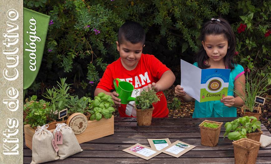 Niños pequeños utilizando el kit de cultivo