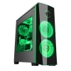 Case atx itek origin gaming black/green led fan lat. trasparente