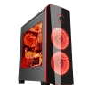 Case atx itek origin gaming black/red led fan lat. trasparente