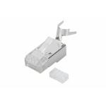 Connettore plug 8 poli schermato cat.6a rj45 con inseritore per cavo rete flessibile