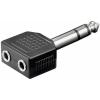 Adattatore 6.35mm 3 pin stereo - 2x 3.5 mm femmina 3 pin stereo