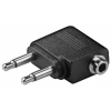 Adattatore 2x 3.5mm maschio 2 pin mono - 3.5mm femmina 3 pin stereo