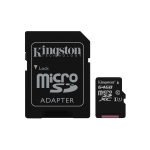 Micro sd 64gb con adatt. c10 uhs-i kingston canvas sdcs/64gb