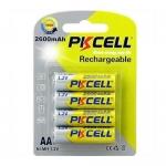 Batteria stilo aa ni-mh ricaricabile 2600mha conf. 4 pz pkcell