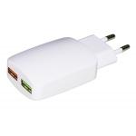 Caricatore ac/usb 2 prese usb 3 ampere bianco link