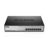 D-Link DGS-1008MP No gestito Gigabit Ethernet (10/100/1000) Supporto Power over Ethernet (PoE) 1U Nero switch di rete