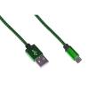 Cavo usb 2.0 to micro usb 1mt con guaina intrecciata verde/nero