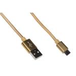 Cavo usb 2.0 to micro usb 1mt con guaina intrecciata 2a oro