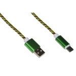 Cavo usb 2.0 to usb type c 1mt guaina intrecciata 2a verde/oro