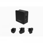 Caricatore da rete con adattatori da viaggio 57 watt pd usb-c + usb-a