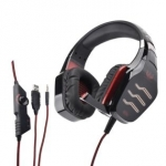 Cuffia con microfono gt 86r led rosso gaming
