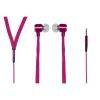 """Auricolari stereo con microfono jack 3,5"""" 1.2mt piatto tela rosa"""