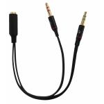 """Sdoppiatore audio 3,5"""" 1*f/2*m x cuffie/mic 2 jack su smartphone"""