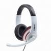 Cuffia bianca  con microfono bianco auricolare nero+ anello rosso connettore 4 poli