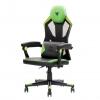 Itek gaming chair 4creators cf50 - pvc +mesh, schienale reclinabile, cuscino lombare, nero verde