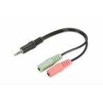 """Sdoppiatore audio 3,5"""" 1*m/2*f per cuffie con 2 jack audio"""