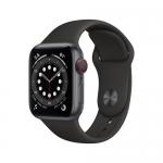 Apple watch series 6 gps + cellular, 40mm space grey aluminium case with black sport band - regular