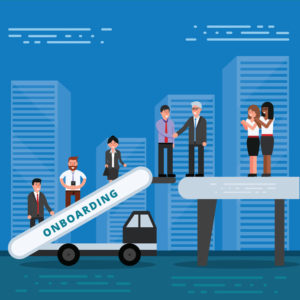 Employees onboarding concept. HR managers hiring new workers for