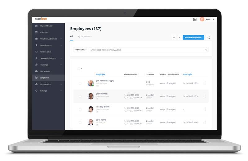 System HR - platforma HR - tomHRM