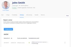 Kartoteka pracownika - umowy - aplikacja tomHRM