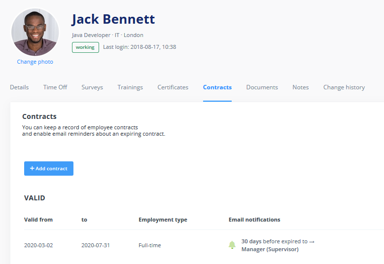 Employee profile: contracts