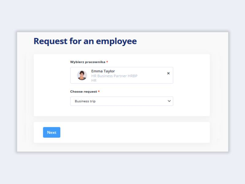 Time off request on behalf of an employee in tomHRM