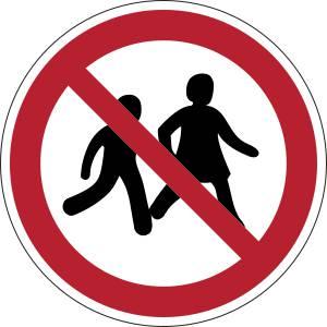 Accès interdit aux enfants - rond -  rouge