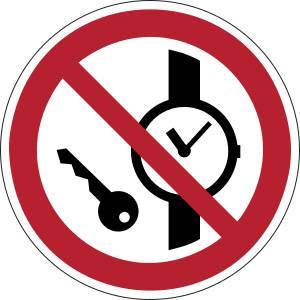 Articles métalliques ou montres interdits - rond -  rouge