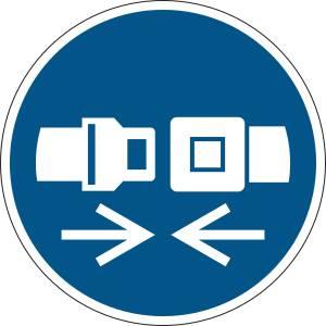 Attacher la ceinture de sécurité - rond de couleur bleu