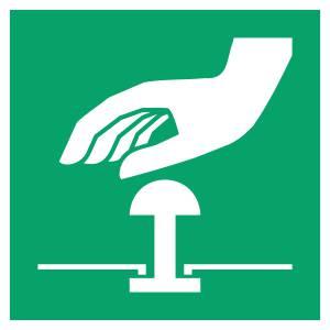 Bouton d'arrêt d'urgence - carré de couleur vert