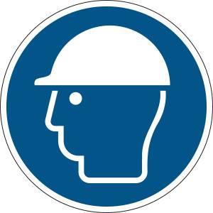 Casque de protection obligatoire - rond de couleur bleu