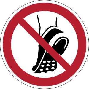 Chaussures à picots métalliques interdites - rond -  rouge