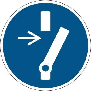 Débrancher avant d'effectuer une activité de maintenance ou une réparation - rond de couleur bleu