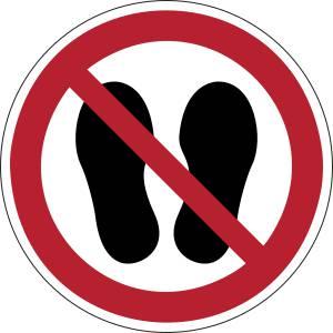 Défense d'entrer avec des chaussures - rond -  rouge