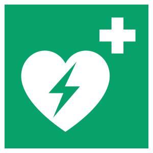 Défibrillateur automatique externe pour le coeur - carré de couleur vert