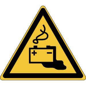 Danger - charge de la batterie en cours - triangle de couleur jaune