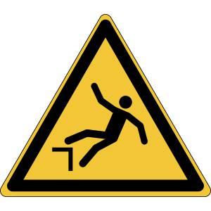 Danger - chute avec dénivellation - triangle de couleur jaune