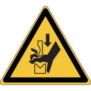 Danger - ecrasement de la main dans l'outil d'une presse pileuse - triangle de couleur jaune