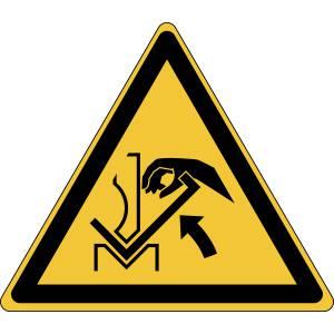 Danger - ecrasement de la main entre une presse pileuse et le matériau - triangle de couleur jaune