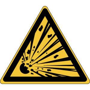 Danger - matières explosives - triangle de couleur jaune