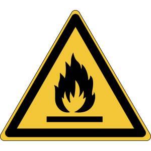 Danger - matières inflammables - triangle de couleur jaune