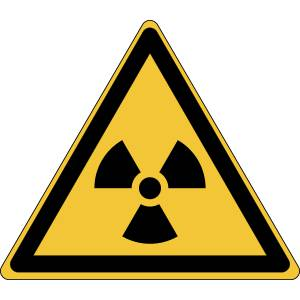 Danger - matières radioactives ou radiations ionisantes - triangle de couleur jaune