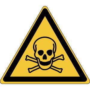 Danger - matières toxiques - triangle de couleur jaune