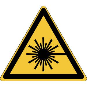 Danger - rayonnement laser - triangle de couleur jaune