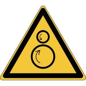 Danger - rouleaux contrarotatifs - triangle de couleur jaune