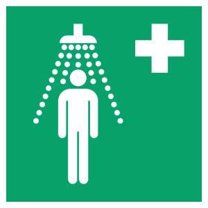 Douche de sécurité - carré de couleur vert