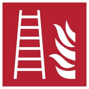 Echelle d'incendie - carré de couleur rouge