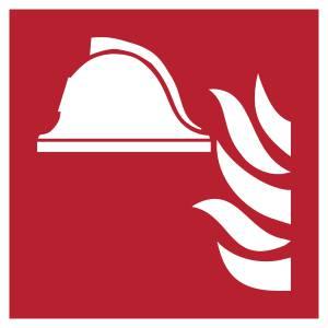 Ensemble d'équipements de lutte contre l'incendie - carré de couleur rouge