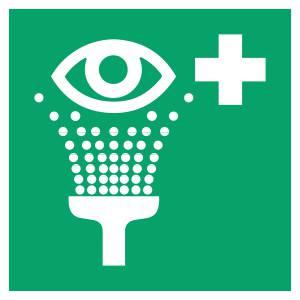 Equipement de rinçage des yeux - carré de couleur vert