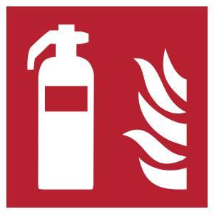 Extincteur d'incendie - carré de couleur rouge